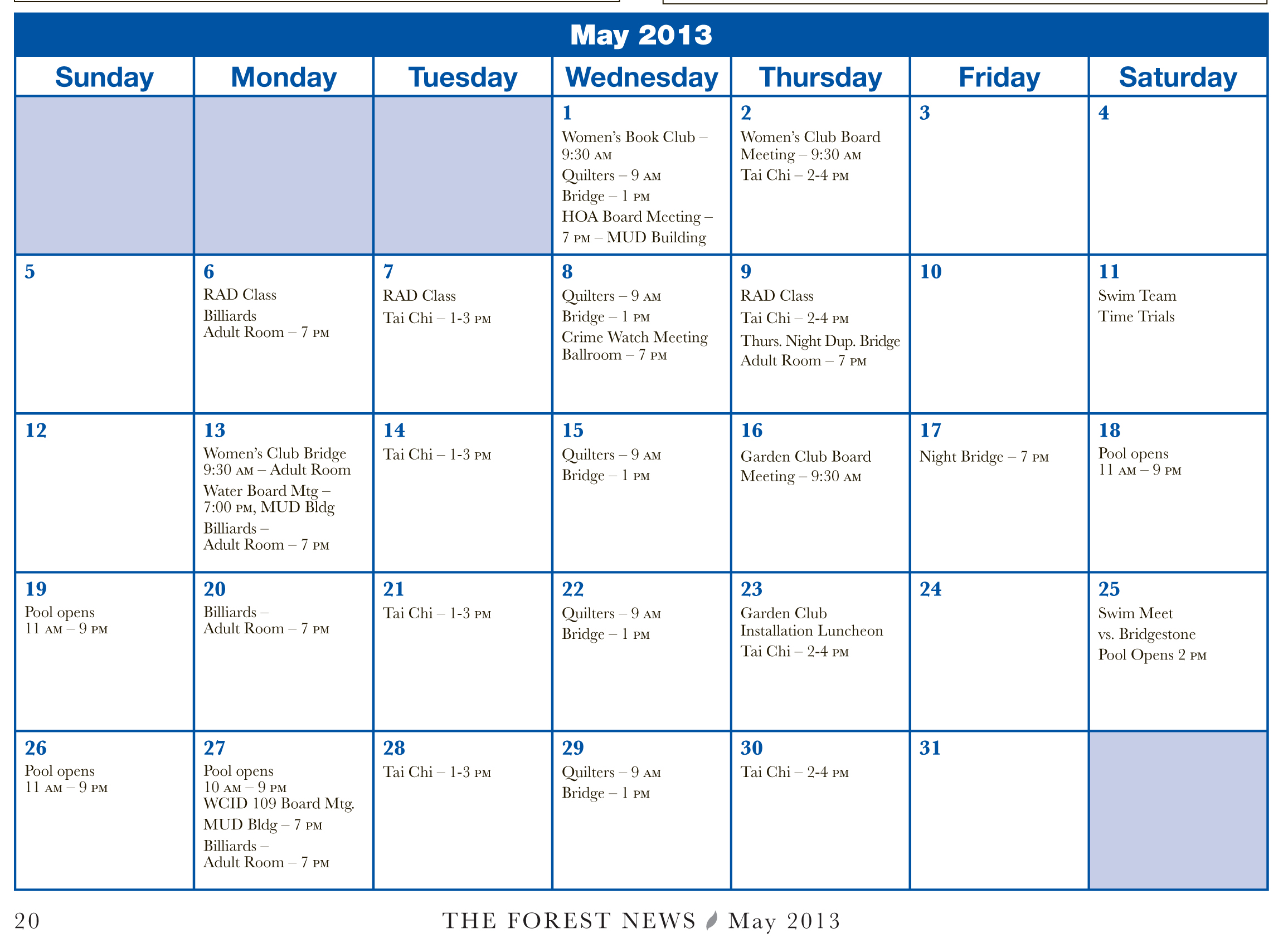 May Calendar Events : Greenwood forest hoa